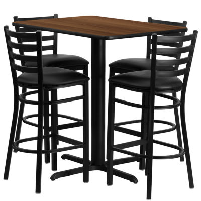 24IN x 42IN Rectangular Laminate Table Set with 4 Ladder Back Metal Barstools - Vinyl Seat