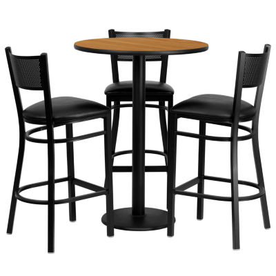 30'' Round Laminate Table Set with 3 Grid Back Metal Barstools