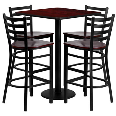 30'' Square Laminate Table Set with 4 Ladder Back Metal Barstools