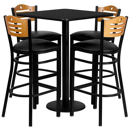 30'' Square Laminate Table Set with 4 Wood Slat Back Metal Barstools