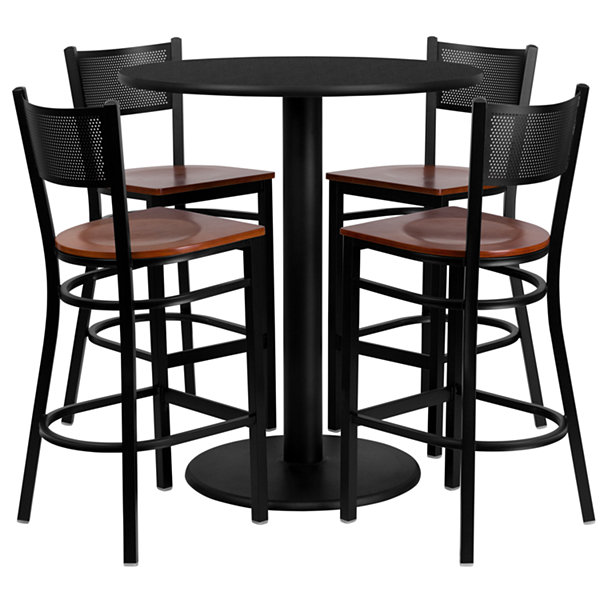 30IN Square Laminate Table Set with 4 Wood Slat Back Metal Barstools - Vinyl Seat