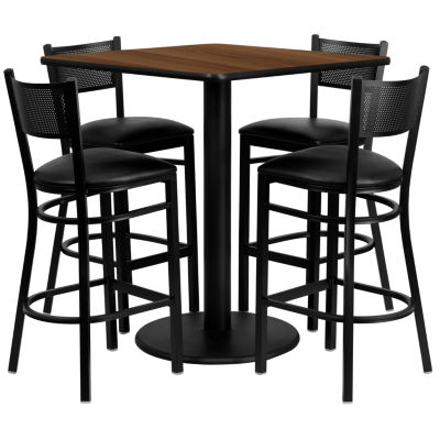 36'' Square Laminate Table Set with 4 Grid Back Metal Barstools
