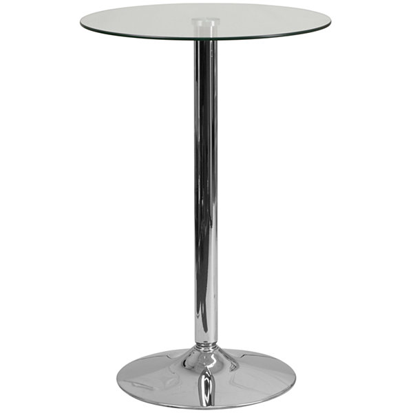 23.5IN Round Adjustable Height Glass Table -Adjustable Range 33.5IN - 41IN