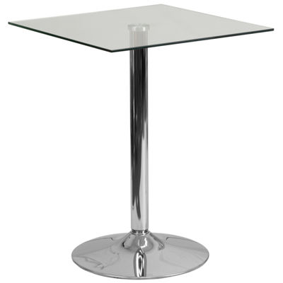 23.75'' Square Glass Table with 30''H Chrome Base