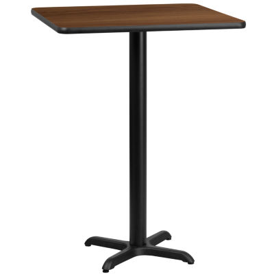 24IN Square Laminate Table Top with 18IN Round Bar Height Table Base