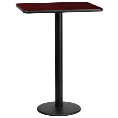 24'' x 30'' Rectangular Laminate Table Top with 18'' Round Bar Height Table Base