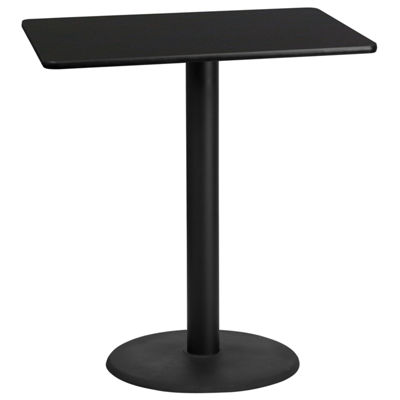 30'' x 42'' Rectangular Laminate Table Top with 24'' Round Bar Height Table Base