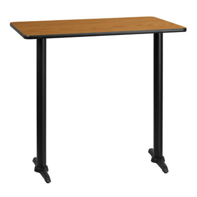 30IN x 42IN Rectangular Laminate Table Top with 24IN Round Bar Height Table Base
