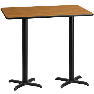 30'' x 60'' Rectangular Laminate Table Top with 22'' x 22'' Bar Height Table Bases