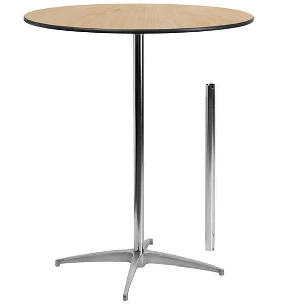 36IN Round Laminate Table Top with 30IN x 30IN Bar Height Table Base