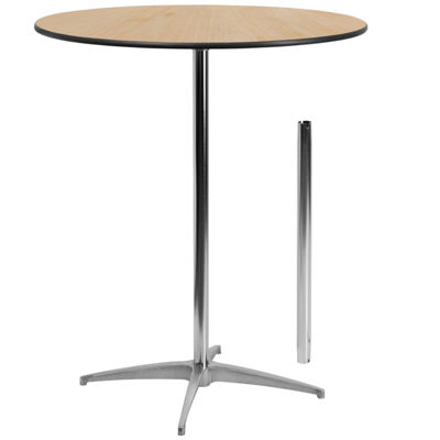 36'' Round Wood Cocktail Table with 30'' and 42'' Columns