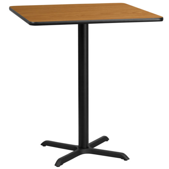 36'' Square Laminate Table Top with 30'' x 30'' Bar Height Table Base