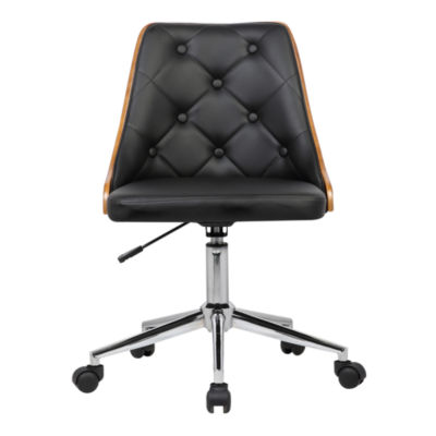 Armen Living Diamond Tufted Faux Leather Mid-Century Office Chair in Chrome Finish with Walnut Veneer Back