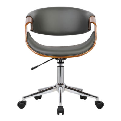 Armen Living Geneva Mid-Century Faux Leather Office Chair in Chrome Finish with Walnut Veneer Arms