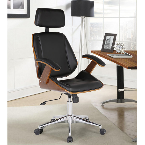 Armen Living Century Faux Leather Office Chair with Multifunctional Mechanism in Chrome Finish with Walnut Veneer Back