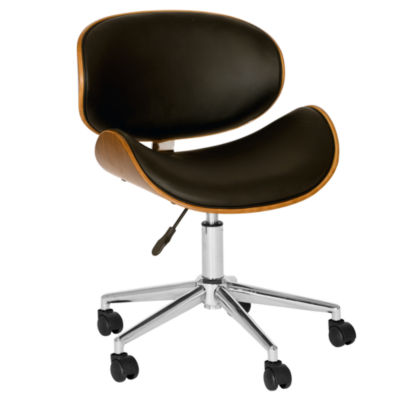 Armen Living Daphne Modern Faux Leather Office Chair In Chrome Finish with Walnut Veneer Back