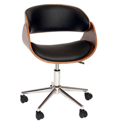 Armen Living Julian Modern Faux Leather Office Chair In Chrome Finish with Walnut Veneer Back