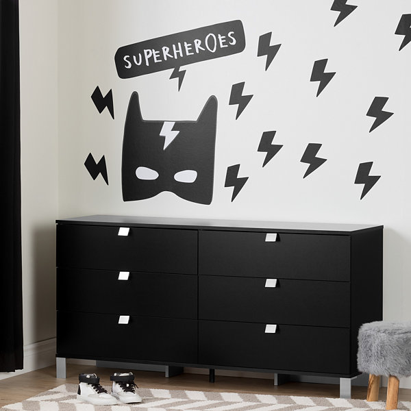 Spark 6-Drawer Double Dresser with Superheroes Wall Decals