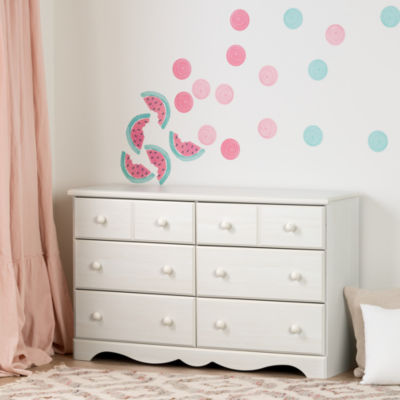 Summer Breeze 6-Drawer Double Dresser with Watermelons and Dots Wall Decals