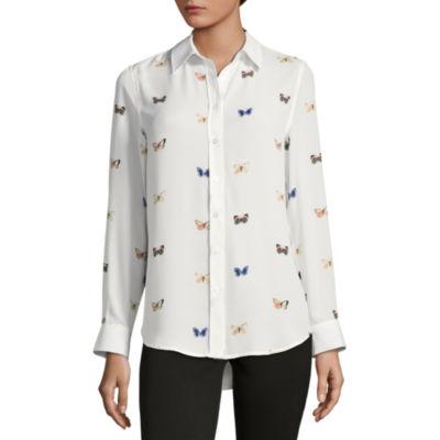 Como Blu Long Sleeve Button Front Blouse