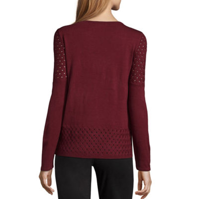 89th & Madison Long Sleeve Basketweave Trim Sweater