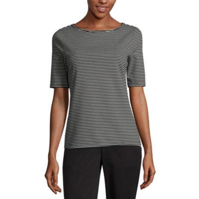 Worthington W Elbow Sleeve Boat Neck T-Shirt-Womens
