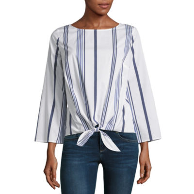 Liz Claiborne 3/4 Sleeve Boatneck Tie Front Stripe Blouse