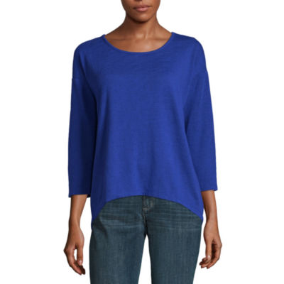 Liz Claiborne 3/4 Sleeve Back Twist T-Shirt-Womens