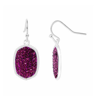 Sparkle Allure Purple Silver Over Brass Drop Earrings