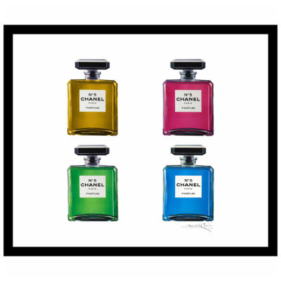 Fairchild Paris 4 Chanel No. 5 Bottles Framed Wall Art