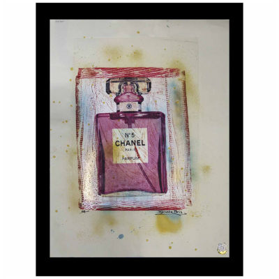 Fairchild Paris Chanel No. 5 Pink Bottle with Etching Framed Wall Art