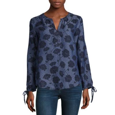 Liz Claiborne Tie Sleeve Split Crew Floral Tunic