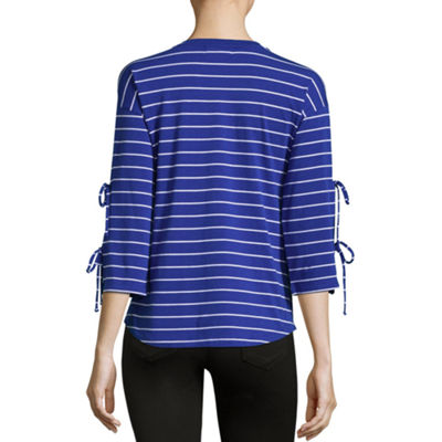 Liz Claiborne 3/4 Tie Sleeve Crew Neck Stripe T-Shirt-Womens