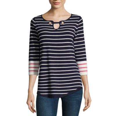Isela 3/4 Sleeve Grommet Striped Tunic Top
