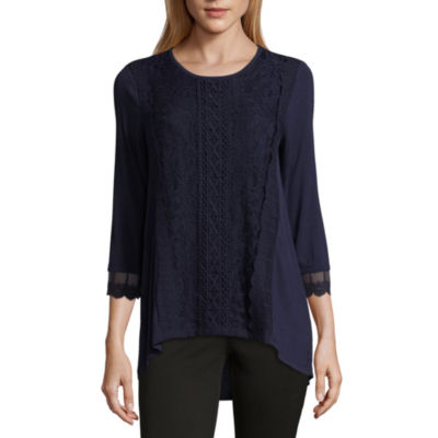89th & Madison 3/4 Sleeve Lace Front T-Shirt-Womens