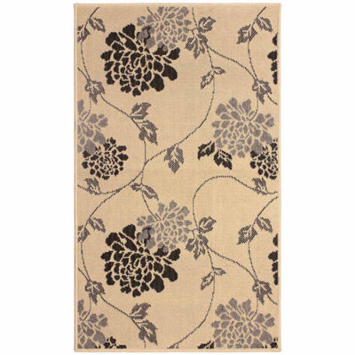 Laura Ashley Stencil Chrysanthemum Indoor/OutdoorRectangular Accent Rug