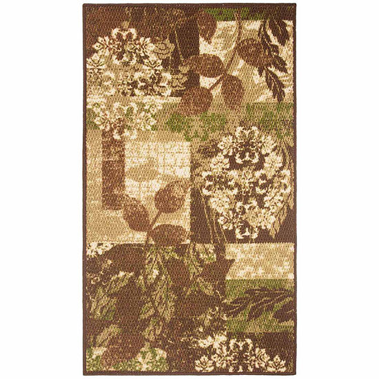 Modern Living Leaves Decorative Rectangular Accent Rug