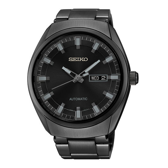 Seiko Mens Automatic Multi-Function Black Stainless Steel Bracelet Watch-Snkn43