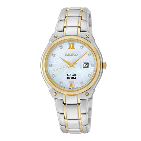 Seiko® Womens Diamond-Accent Two-Tone Stainless Steel Solar Watch SUT214