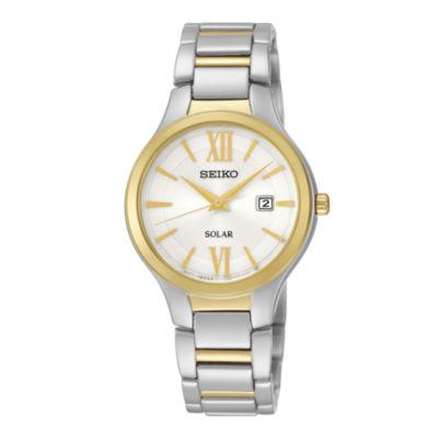 Seiko® Womens Two-Tone Stainless Steel Solar Bracelet Watch SUT210