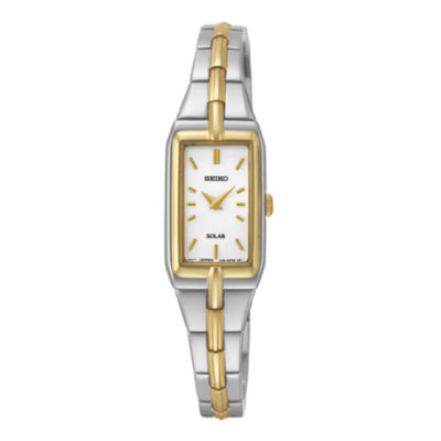 Seiko® Womens Silver-Tone Dial Two-Tone Stainless Steel Solar Watch SUP272