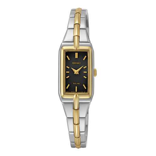Seiko® Womens Black Dial Two-Tone Stainless Steel Solar Bracelet Watch SUP274