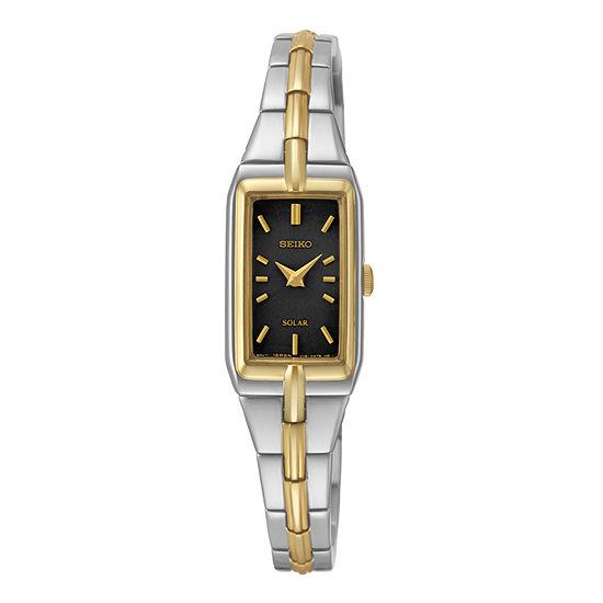 Seiko Womens Black Dial Two Tone Stainless Steel Solar Bracelet Watch Sup274