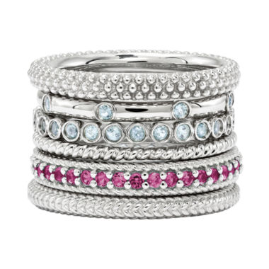 jcpenney.com | Personally Stackable Aquamarine or Lab-Created Ruby Sterling Silver Rings