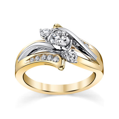 Sirena® 5/8 CT. T.W. Diamond 14K Two-Tone Gold 3-Stone Bypass Bridal Ring