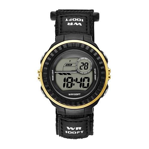 Womens Gold Bezel Black Plastic Strap Digital Watch