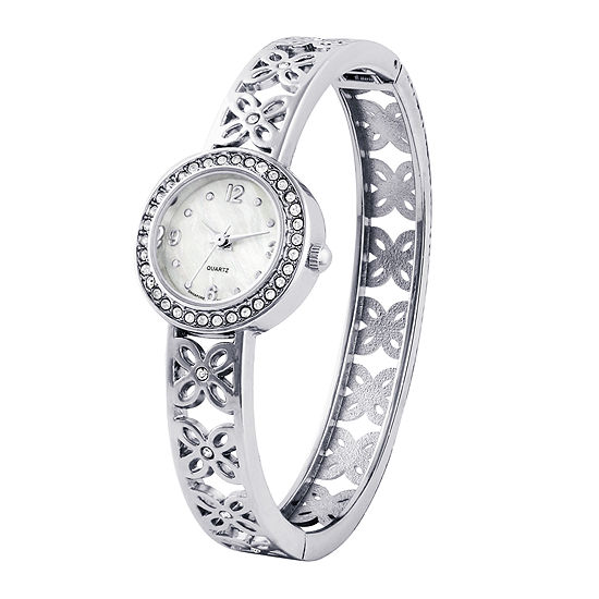 Womens Silver-Tone Flower Bangle Watch