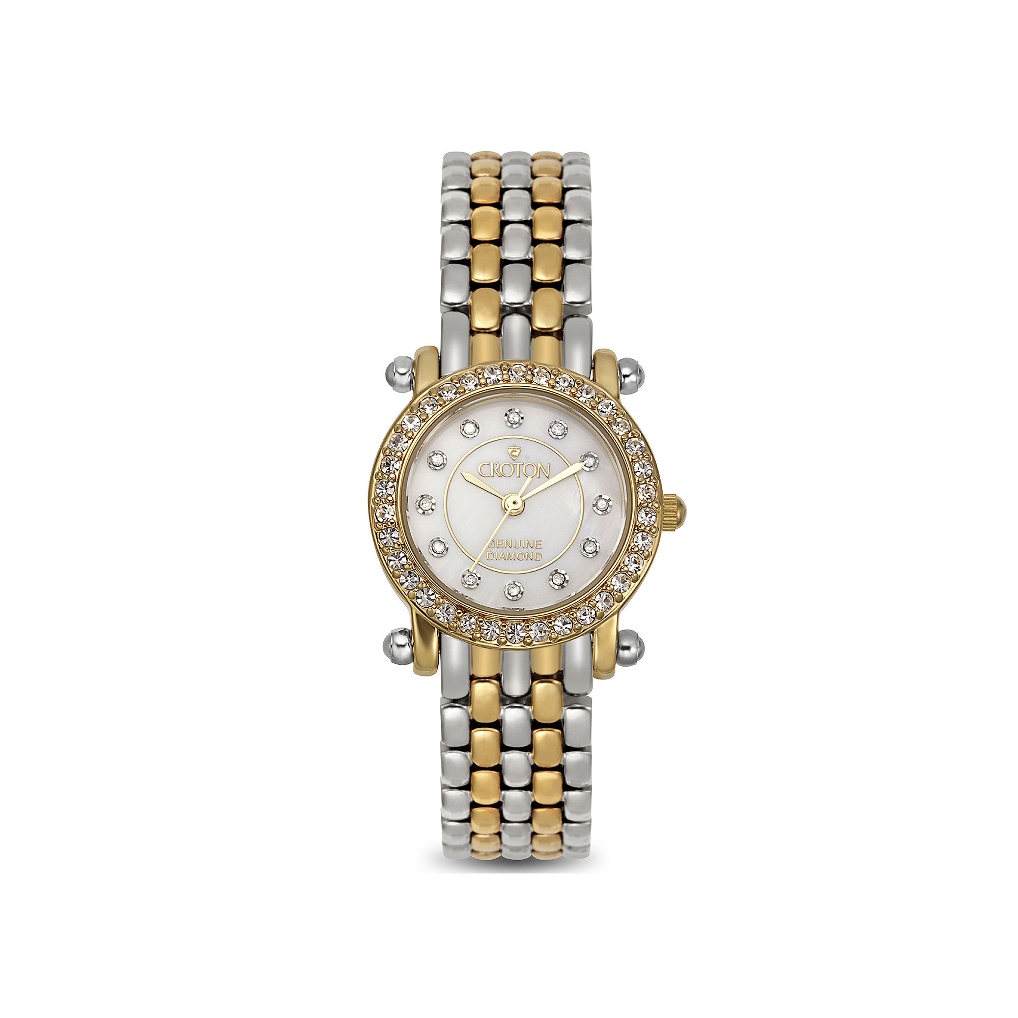 Croton Womens Diamond-Accent Two-Tone Stainless Steel Bracelet Watch