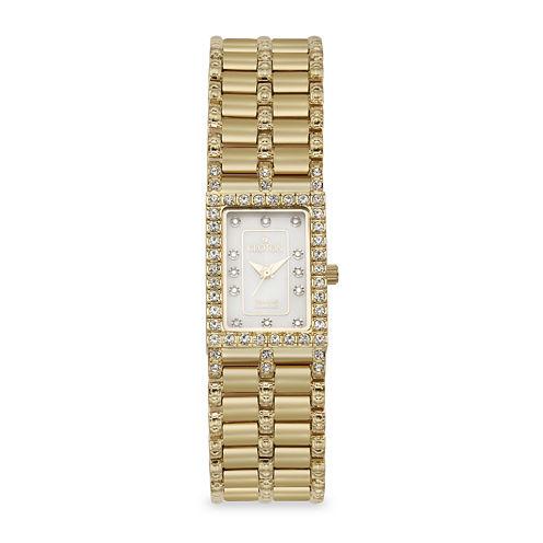 Croton Womens Diamond-Accent Gold-Tone Stainless Steel Rectangular Bracelet Watch