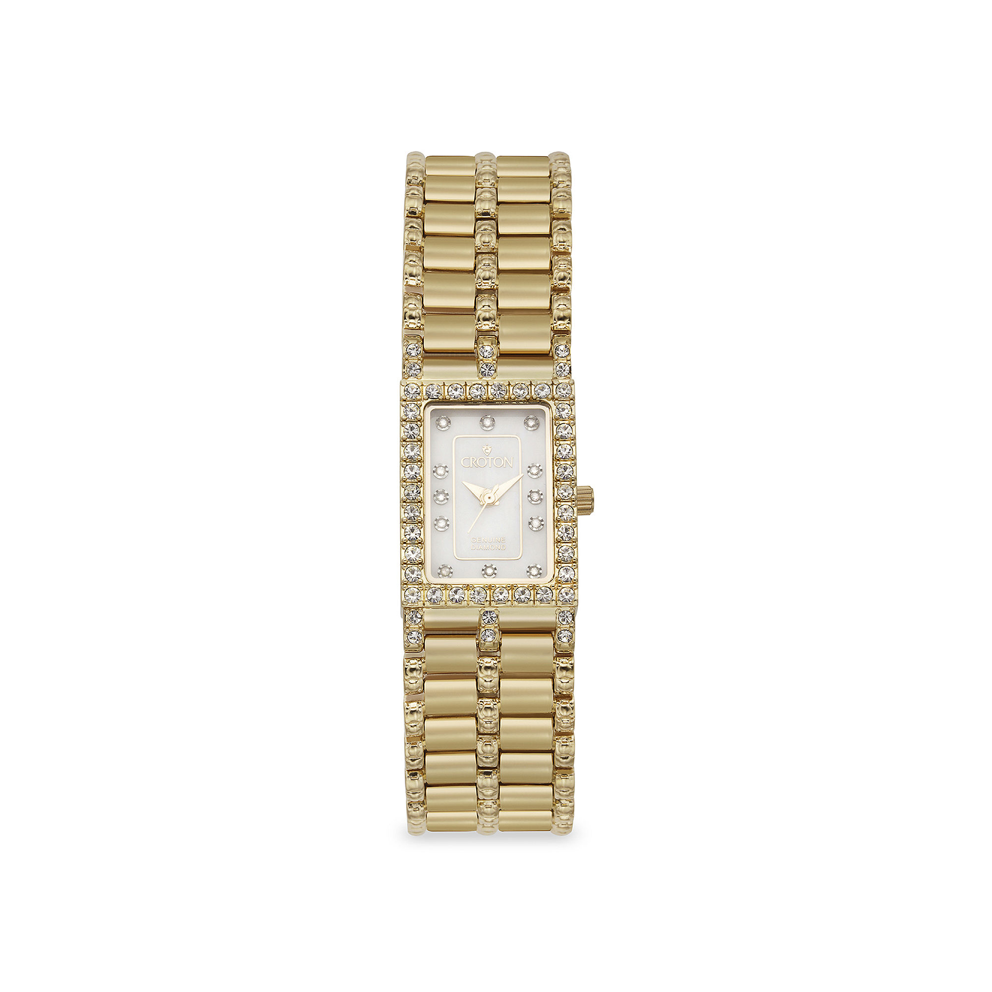 Croton Womens Diamond-Accent Gold-Tone Stainless Steel Rectangular Bracelet Watch